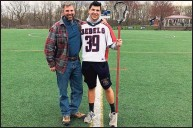?? Contributed photo ?? New Fairfield boys lacrosse player Zachary Diehl with his father, Don.
