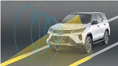 ??  ?? The Toyota Safety Sense suite uses cameras and sensors to constantly scan road conditions.