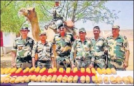 ?? HT PHOTO ?? BSF officials pose with the packets of heroin seized at the international border in Bikaner.