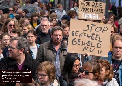 ?? FOTO JORIS HERREGODS ?? Stille mars tegen seksueel geweld in mei vorig jaar in Antwerpen.