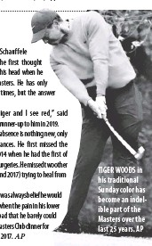 ??  ?? TIGER WOODS in his traditional Sunday color has become an indelible part of the Masters over the last 25 years. AP