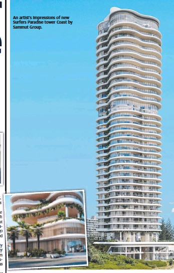 ??  ?? An artist's impressions of new Surfers Paradise tower Coast by Sammut Group.