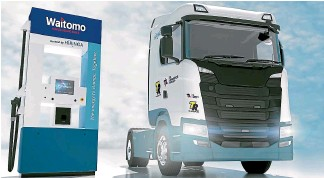 ??  ?? Freight company TIL Logistics is trialling hydrogen trucks with fuel retailer Waitomo supplying the fuel, as part of a plan to help the trucking industry switch to new fuels, led by clean-tech firm Hiringa Energy.