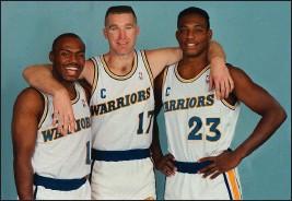 ?? PHOTO BY JOHN GREEN ?? Run TMC, from left, Tim Hardaway, Chris Mullin and Mitch Richmond.