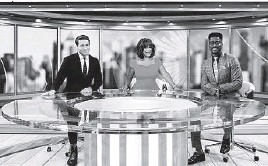 """?? MICHELE CROWE/CBS ?? """"CBS Mornings"""" hosts Tony Dokoupil, left, Gayle King and Nate Burleson."""