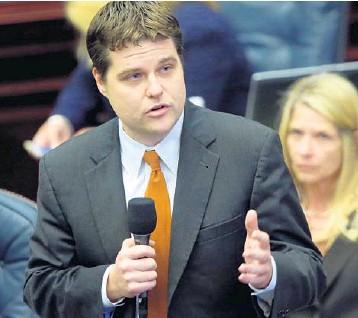 ?? STEVE CANNON/AP ?? Rep. Matt Gaetz, R-Fort Walton Beach, speaks during the 2016 legislative session in Tallahassee.