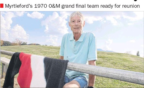 ?? PHOTO: Justin Jenvey ?? REUNION: Former Myrtleford footballer Alan Heberle and his 1970 teammates will soon celebrate the club's premiership win from 50 years ago.