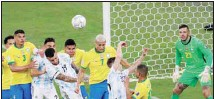 ??  ?? Argentina's goalkeeper Emiliano Martinez guards his goal during the Copa America final soccer match against Argentina at Maracana Stadium in Rio de Janeiro, Brazil. (AP)