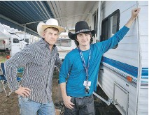 ??  ?? Bullfighter Nick Fair, left, from Illinois, and second-generation rodeo clown Brinson James, right, from Florida, consider the St-Tite Western Festival to be a major event.