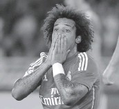 ?? — AFP ?? Real Madrid's Marcelo ges­tures dur­ing their La Liga match against Real So­ciedad at the Anoeta Sta­dium in San Se­bas­tian on Sun­day. Madrid lost 2- 4.