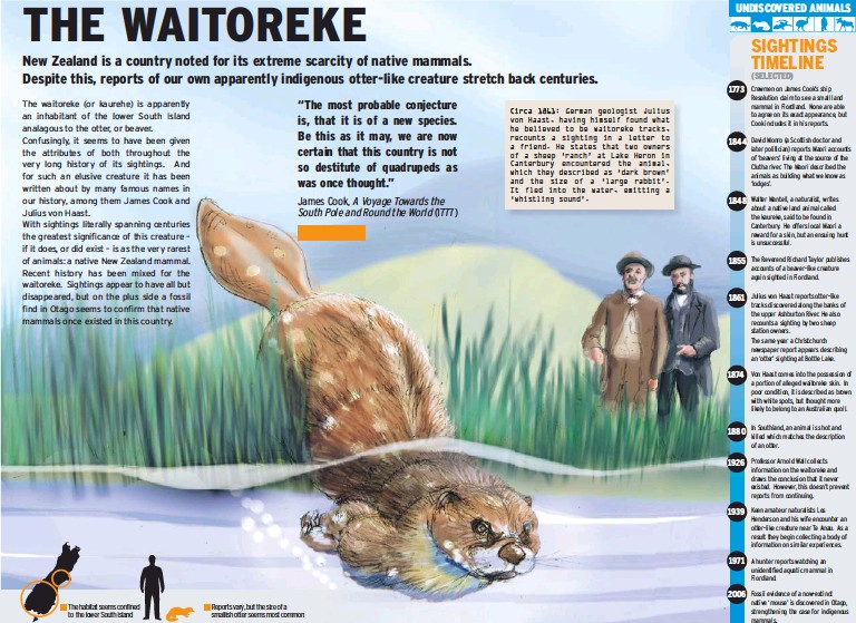 ??  ?? Circa 1861: German geologist Julius von Haast, having himself found what he believed to be waitoreke tracks, recounts a sighting in a letter to a friend. He states that two owners of a sheep 'ranch' at Lake Heron in Canterbury encountered the animal,...