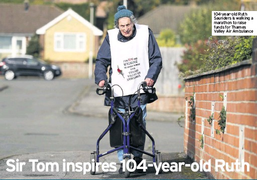 ??  ?? 104-year-old Ruth Saunders is walking a marathon to raise funds for Thames Valley Air Ambulance