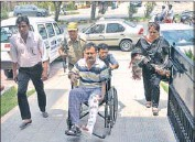 ??  ?? DSP (prisons) Vikramjeet Panthe going to the hospital for check-up in Jalandhar on July 8. HT FILE PHOTO