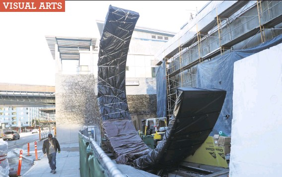 """?? Scott Strazzante / The Chronicle ?? """"Geneses,"""" a sculpture by Christine Corday, is still under wraps as it sits outside the Moscone Center expansion in San Francisco."""