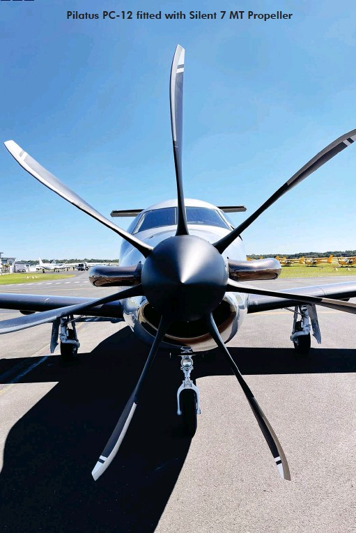 ??  ?? Pilatus PC-12 fitted with Silent 7 MT Propeller
