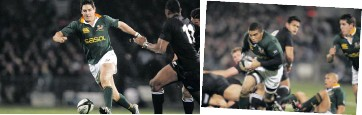 ??  ?? From left: Jonah Lomu charges past Joost van Westhuizen during the Rugby World Cup final match in 1995; Robert Cockrell, De Villiers Visser and protesters in Gisborne during the 1981 Springbok tour; Jaque Fourie during the Tri-Nations match in 2005 at Carisbrook Stadium in Dunedin, New Zealand; South Africa's Bryan Habana sets off for his try during the Tri-Nations Rugby match in 2005 in Dunedin. Photos: Gallo Images
