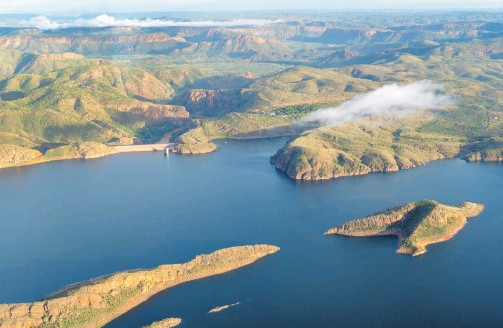 ?? KIMBERLEY SNAPSHOT ?? The West Australian's travel reporter Mogens Johansen snapped this beautiful photo of a lush, green Lake Argyle landscape from an Aviair flight he took in March.
