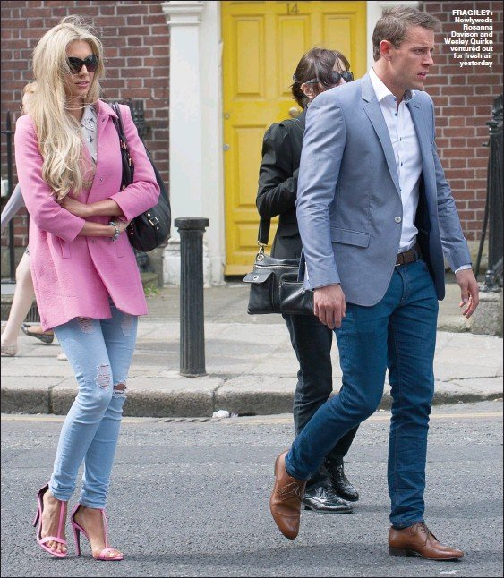 ??  ?? fragile?: Newlyweds Rosanna Davison and Wesley Quirke ventured out for fresh air yesterday