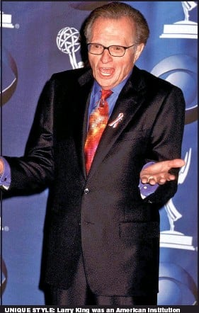 ?? Pictures: ALAMY; ITV; GETTY ?? UNIQUE STYLE: Larry King was an American institution