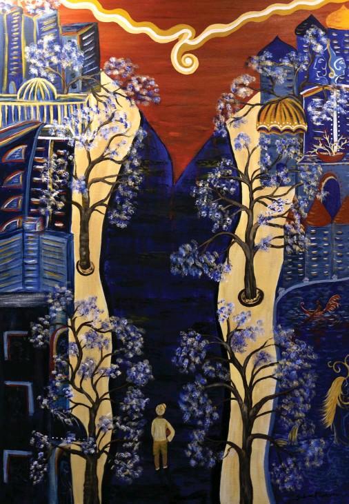 ??  ?? En mi calle (On my block) / Acrylic on canvas / 100 x 70 cm