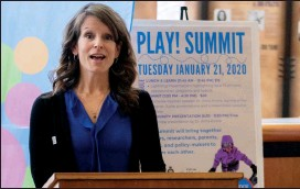 ?? Herald photo by Greg Bobinec @GBobinecHerald ?? Vicki Hazelwood, co-ordinator at Lethbridge Early Years Coalition, announces their first Play! Summit in Lethbridge, for people to learn from presentations and speakers about opportunities in play, taking place next Tuesday.