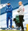 ?? Foto: dpa ?? Pep Guardiola (vorne) hatte gegen Tho‰ mas Tuchel das Nachsehen.