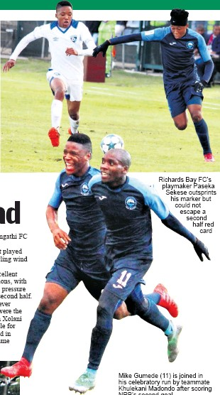 ?? Dave Savides ?? Richards Bay FC's playmaker Paseka Sekese outsprints his marker but could not escape a second half red card Mike Gumede (11) is joined in his celebratory run by teammate Khulekani Madondo after scoring NRB's second goal