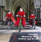 ??  ?? Song cycle: Westminster Abbey choristers enjoy the ride