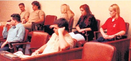 ?? LOU TOMAN/STAFF FILE ?? During a 1993 arraignment, seven people appearedin court. In front row: Donald Semenec, left, and Derek Dzvirko. In back row, from left, Marty Puccio, Derek Kaufman, Heather Swallers, Lisa Connelly and AliceWillis.