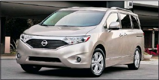 ??  ?? The 2011 Nissan Quest is a practical vehicle meant to transport families. However, it has some nice touches, such as full surround privacy glass, black sash moulding and chrome trim accents.