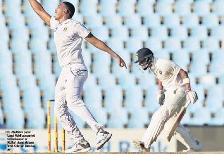 ?? AFP ?? South Africa pacer Lungi Ngidi ac­counted for In­dia opener KL Rahul and skip­per Vi­rat Kohli on Tues­day.