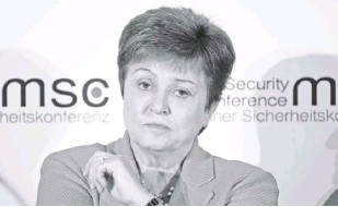 ?? AP ?? In this February 14, file photo, Kristalina Georgieva, managing director of the International Monetary Fund, attends a session on the first day of the Munich Security Conference in Munich, Germany. Georgieva said on November 19, that while the United States and other major economies turned in better-than-expected economic performances in the third quarter the world now faces slower momentum with a resurgence in coronavirus cases.