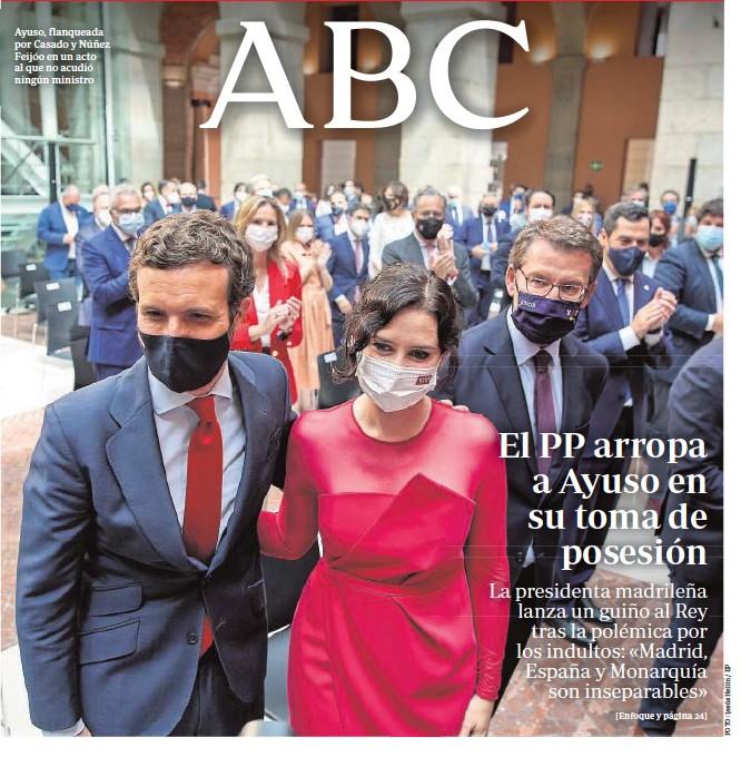 ??  ?? Ayuso, flanqueada por Casado y Núñez Feijóo en un acto al que no acudió ningún ministro