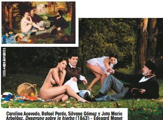 ??  ?? Carolina Acevedo, Rafael Pardo, Silvana Gómez y Jota Mario Arbeláez. Desayuno sobre la hierba (1863) - Édouard Manet