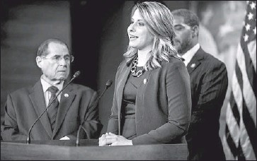 """?? Zach Gibson Getty Images ?? AGUA DULCE Democrat Katie Hill, already among the most powerful freshman House members, says she has """"a heck of a lot to live up to"""" given comparisons to Speaker Nancy Pelosi, who has become a mentor."""