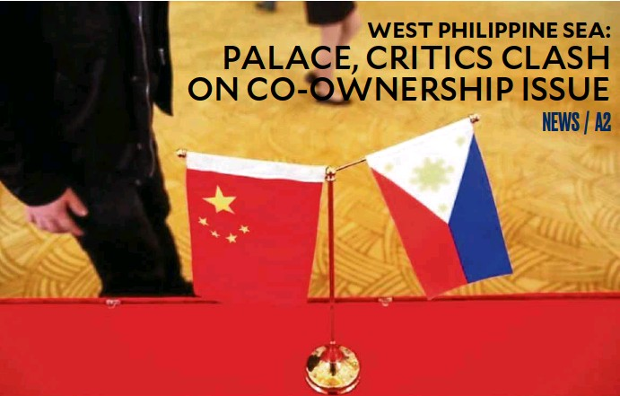 ?? —REUTERS ?? PLANQUESTIONED Philippine and Chinese flags are placed outside the venue of a press conference of Philippine Finance Secretary Carlos Dominguez III and Chinese CommerceMinister GaoHucheng in Beijing last year. Aplanned joint exploration for oil and gas...
