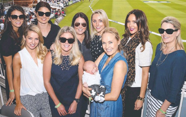 ??  ?? PROUD PARTNERS: The wives and girlfriends of some of Australia's cricket team during this year's Ashes series; (inset) Michael Clarke and coach Darren Lehmann.