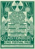 ??  ?? Un poster dell'edizione del Glastonbury Festival del 1982.