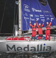 ??  ?? Pipe Hare's Medallia took line honours in the first Lonely Rock Race