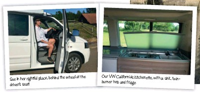 ??  ?? Our VW California's kitchenette, with a: sink, twinburner hob and fridge at the Sue in her rightful place, behind the wheel driver's seat!