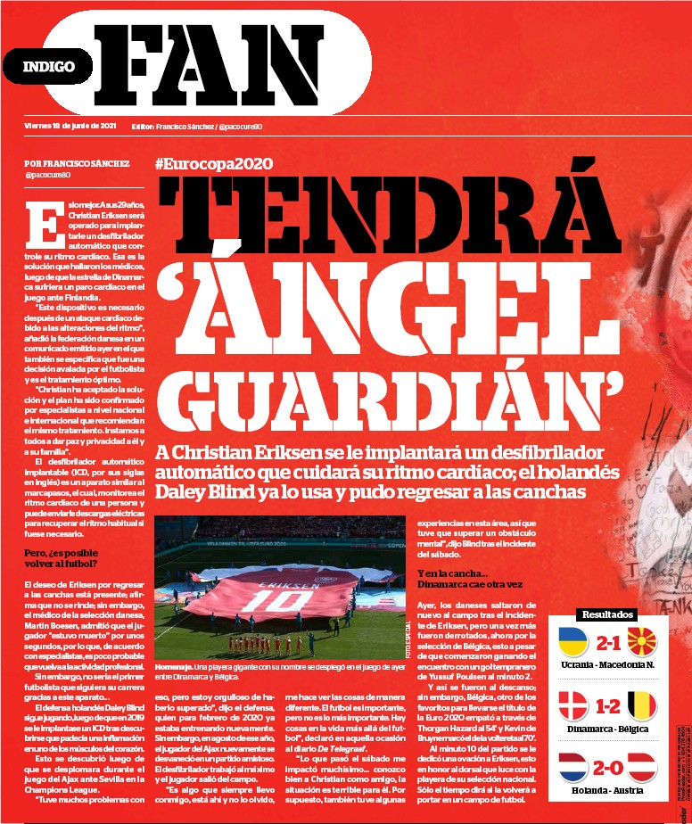 ??  ?? Homenaje. Una playera gigante con su nombre se desplegó en el juego de ayer entre Dinamarca y Bélgica.