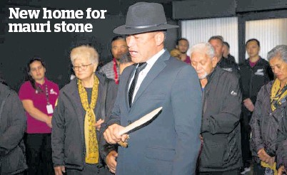 ?? Photo / Sharlene Ferguson ?? Representatives of Nga¯ti Wha¯tua ra¯kei bless the stone at a dawn ceremony at SkyCity.