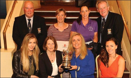 At the presentation of prizes of the Killarney Golf Club Louie Hayes Memorial prize sponsored by Donagh Hickey Motors were front from left, Darina Coffey, ...