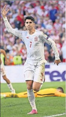 ??  ?? Álvaro Morata, tras marcar ante Croacia.
