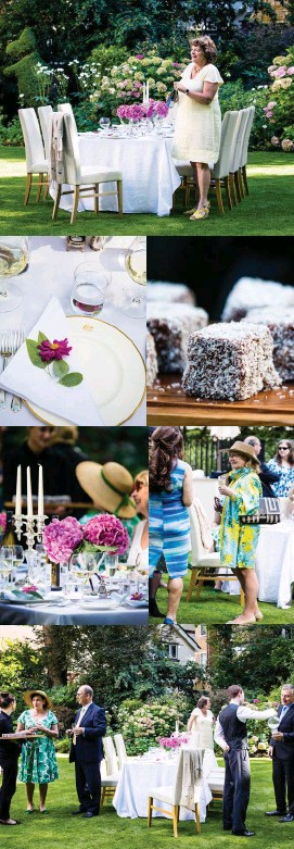 ??  ?? Nicky pops the first bottle of Champagne for guests at a summer reception, where lamingtons are a nostalgic reminder of Australia. The plates are stamped with the Australian coat of arms and topped with cerise Japanese anemones ( Anemone hupehensis)...