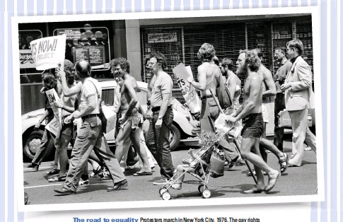 ??  ?? The road to equality Protesters march in New York City, 1976. The gay rights movement in the US is one of LGBTQ history's most famous stories