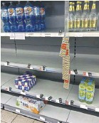 ??  ?? Empty shelves are now appearing in shops due to staff self-isolating