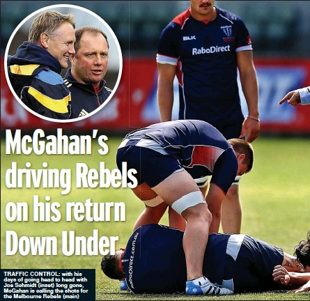 ??  ?? traFFiC COntrOl: with his days of going head to head with Joe Schmidt (inset) long gone, McGahan is calling the shots for the Melbourne Rebels (main)