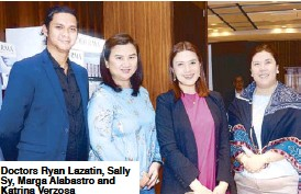 ??  ?? Doc­tors Ryan Lazatin, Sally Sy, Marga Alabas­tro and Ka­t­rina Ver­zosa