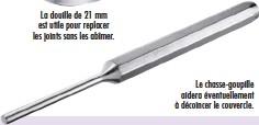 ??  ?? La douille de 21 mm est utile pour replacer les joints sans les abîmer. Le chasse-goupille aidera éventuellement à décoincer le couvercle.